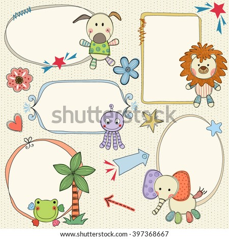 Hand drawn frames, banners with toy animals. Seamless background. - stock vector