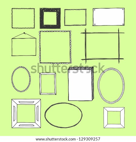 Hand Drawn Frames. Doodles. Isolated. Vector - stock vector