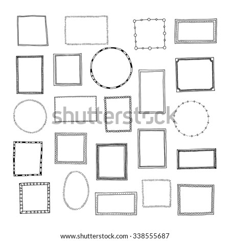 Hand drawn frames set. Cartoon style. Vector.  - stock vector