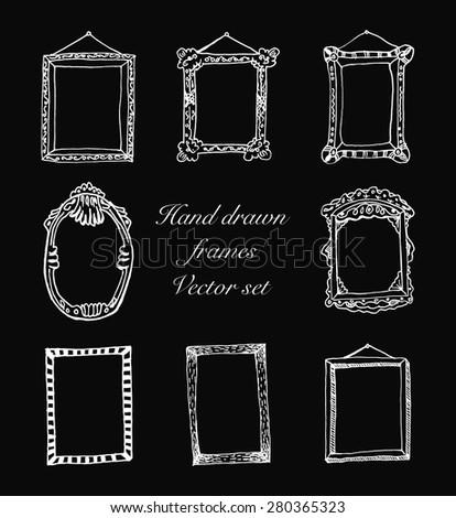 hand drawn frames vector illustration - stock vector