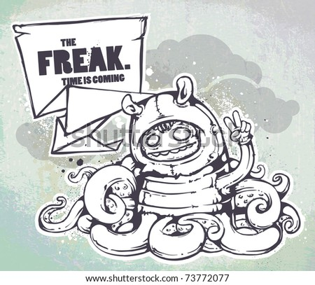 Hand drawn freak on the wall textured background. Layered. Vector EPS 10 illustration. - stock vector