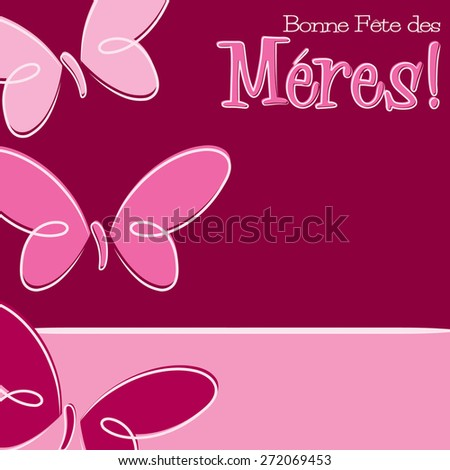Hand Drawn French Happy Mother's Day card in vector format. - stock vector