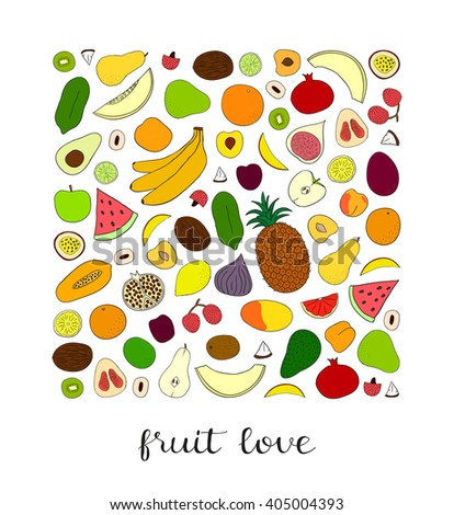 Hand drawn fruits in square shape. Pineapple, kiwi, grapefruit, banana, lemon, papaya, peach, lime, passionfruit, lychee, plum, watermelon, avocado, coconut. Can be used for prints, cards, posters. - stock vector