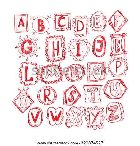 hand drawn funny doodle font - stock vector