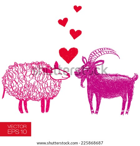 Hand drawn funny goat and sheep fall in love. Graphic careless style. Useful for unusual extraordinary greeting cards for new year's day or St. Valentine's day - stock vector