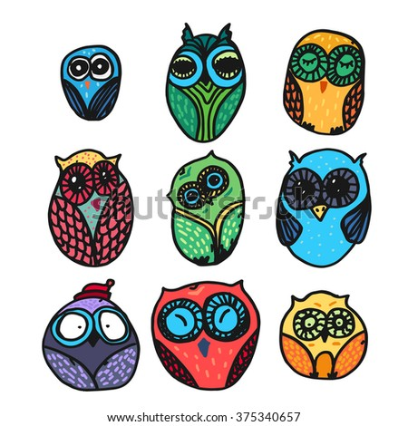 Hand  Drawn Funny Owl. Owls set for print, fabric, wrap and illustration. Vector - stock vector