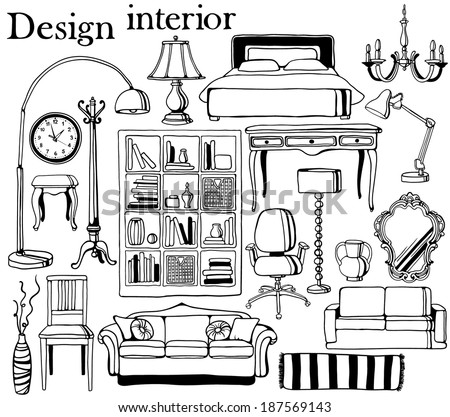 hand-drawn furniture collection - stock vector