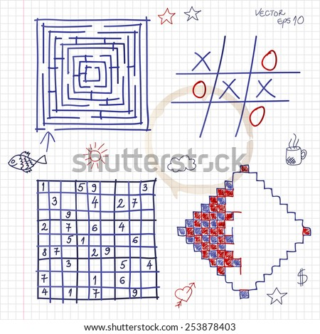 Hand drawn games in notepad. Vector eps10. - stock vector