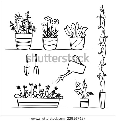 Hand drawn garden tools and plants - stock vector