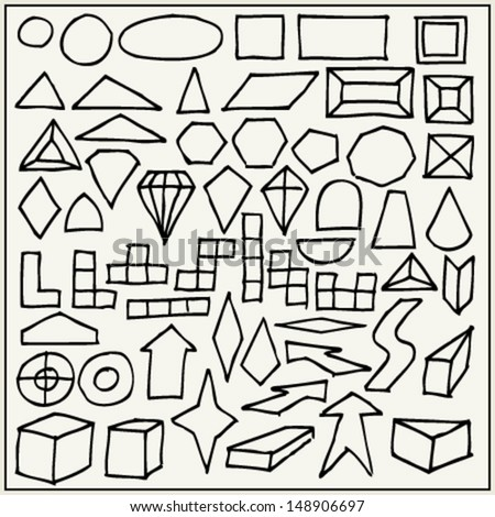 Hand drawn geometric shapes - stock vector