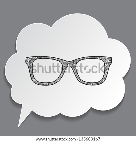 hand-drawn glasses in dream bubble isolated - stock vector