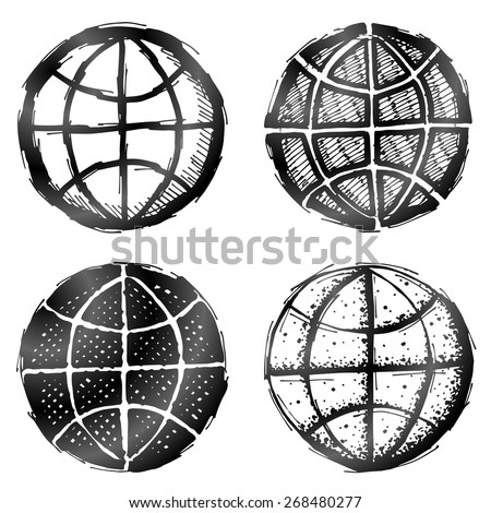 Hand drawn globe symbol. Sketch of earth sign in doodle style. Qualitative vector graphics for travel, geography, tourism, world map, trip, cartography, etc - stock vector