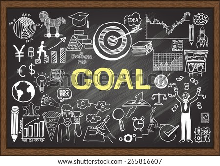 Hand drawn goal on chalkboard. Business doodles. - stock vector