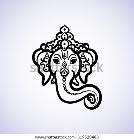 Hand drawn God Ganesh Indian style black on a white background with a place for your text. For invitations, save the date or wedding card design. Yoga Meditation Logo Graphic. Vector illustration - stock vector