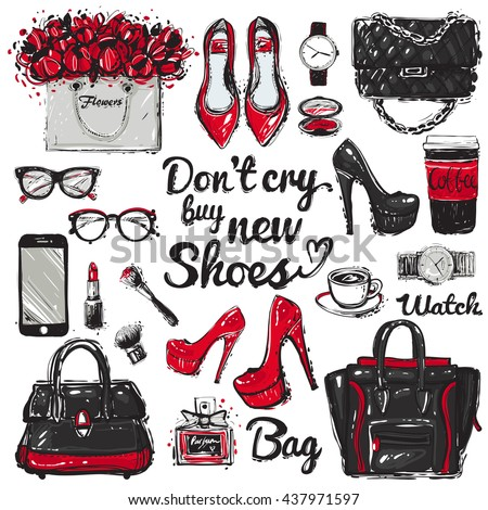 Hand drawn graphic bags different design, glasses, watch, coffee cup, smartphone, shoes, lipstick, lettering. Big vector fashion illustration accessories sketch set. Isolated vogue fashion elements - stock vector