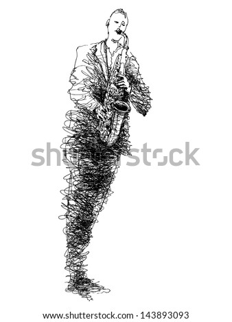 Hand drawn graphic illustration of musician playing on sax. Card of saxophonist isolated on white background.  - stock vector