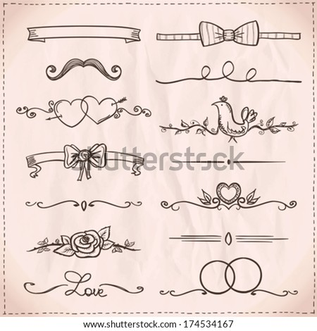 Hand-drawn graphic line elements - love and  wedding theme on a paper.  - stock vector
