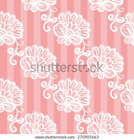 Hand Drawn graphic vintage white line lace peony seamless pattern on soft striped pink background. Set of isolated floral laces wedding invitation decorative elements. Chess grid order - stock vector