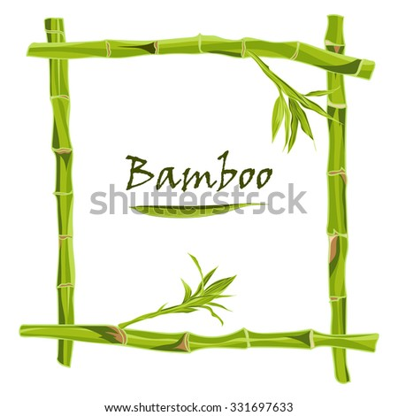 Hand-drawn green bamboo frame with space for text. Easily editable  vector illustration - stock vector