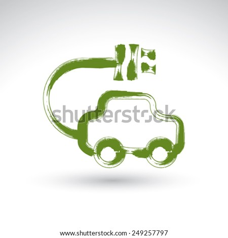 Hand drawn green eco car icon, illustrated brush drawing electric powered car, hand-painted ecology automobile isolated on white background. - stock vector