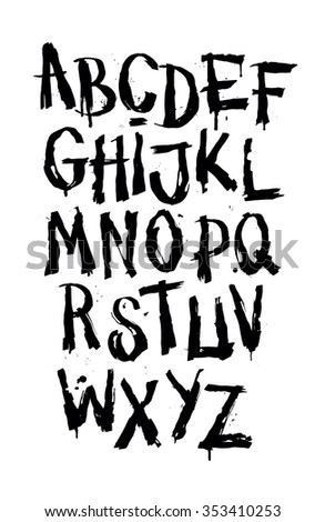 Hand drawn grunge font. Detailed vector alphabet - stock vector
