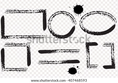 Hand drawn grunge frame with space for text. Ink smears. - stock vector