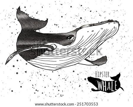 Hand drawn grunge watercolor whale. Vector illustration. Logo design - stock vector