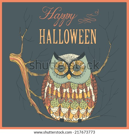 hand drawn halloween owl sitting on a twig in the night - stock vector