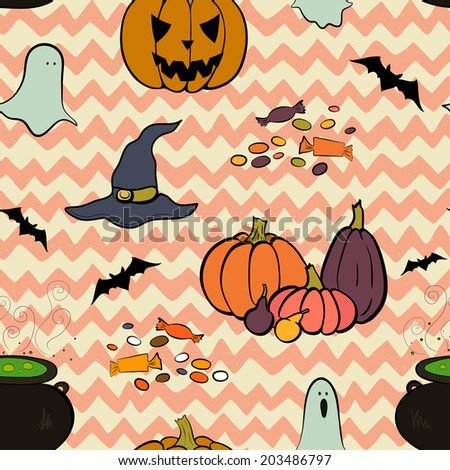 Hand drawn halloween seamless pattern with cartoon spooky ghost, pumpkins, bat, Jack-o'-lantern, cauldron boiling the potion, witch hat and candies on doodle chevron background. - stock vector