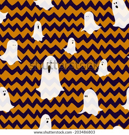 Hand drawn halloween seamless pattern with cartoon spooky ghosts on doodle chevron background. - stock vector