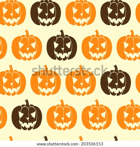 Hand drawn halloween seamless pattern with cartoon spooky Jack-o'-lanterns. Tiling background with doodle pumpkin silhouettes. - stock vector
