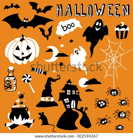 hand-drawn halloween set - stock vector