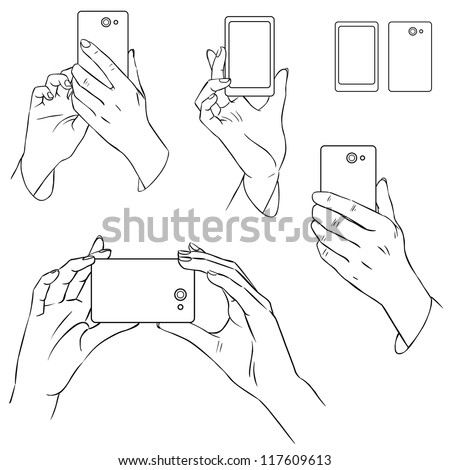 Hand drawn hands with mobile phone - stock vector