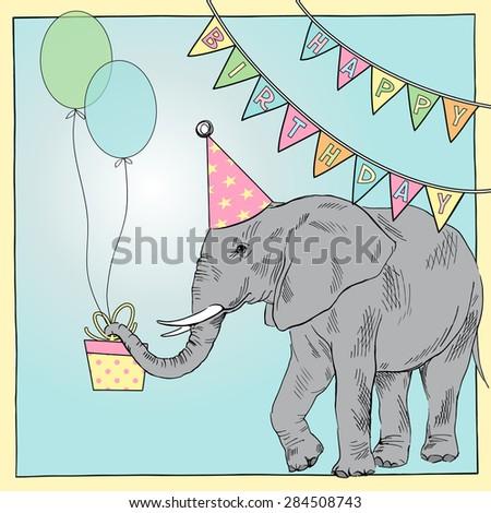 hand drawn happy birthday card with elephant, greeting art, congratulatory design - stock vector