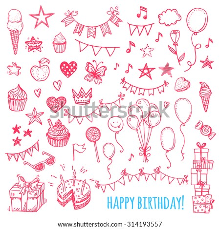 Hand drawn happy birthday party icons. Cakes, sweets, balloons, bunting flags. - stock vector