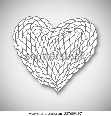Hand drawn heart, vector eps10 illustration - stock vector