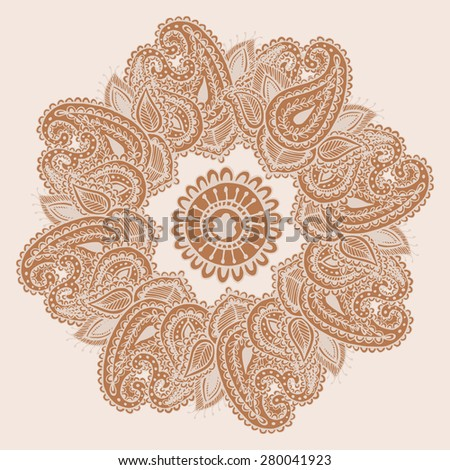 Hand-Drawn Henna Mehndi Abstract Mandala Flowers and Paisley Doodle Vector Illustration Design Elements - stock vector