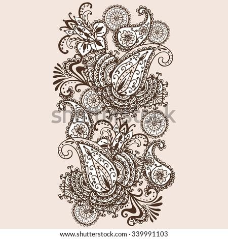 Hand-Drawn Henna Mehndi Abstract Mandala Flowers and Paisley Doodle Vector Illustration Design Elements - stock vector