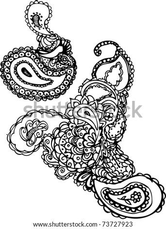 hand drawn henna pattern - stock vector