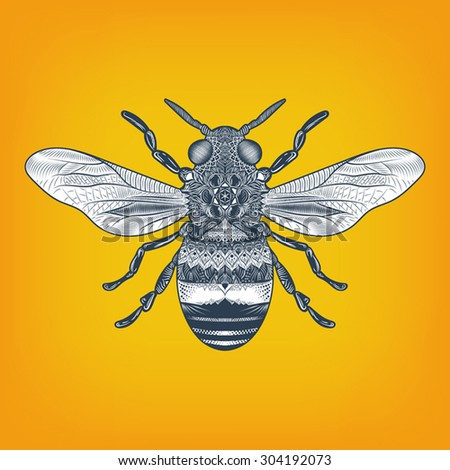 Hand drawn high detail line illustration of a bee with oriental elements, isolated. - stock vector