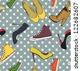 Hand drawn high hill shoes and sneakers seamless pattern on the polka dot background. Vector illustration. - stock vector