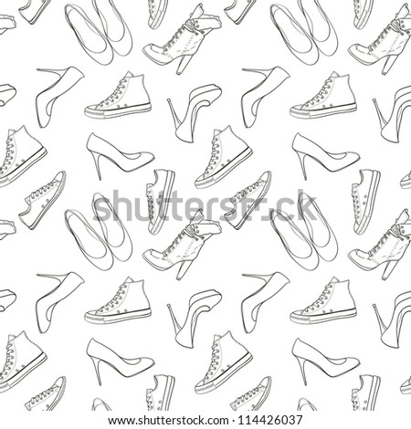Hand drawn high hill shoes and sneakers seamless pattern. Vector illustration. - stock vector