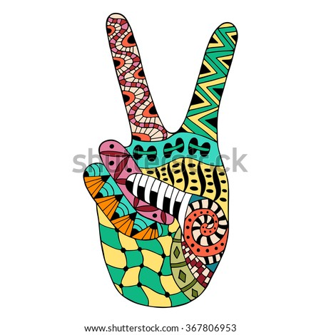 Hand drawn hippie peace symbol for anti stress colouring page. Pattern for coloring book. Made by trace from sketch. Illustration in zentangle style. Colorful variant. Hippie collection. - stock vector