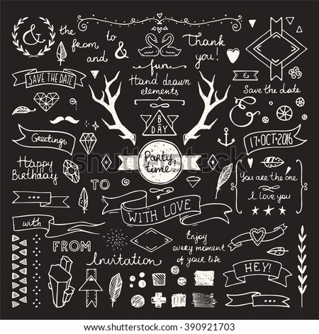 Hand drawn hipster doodle collection for wedding invitations, birthday, greeting cards. Cute design elements: frames, deer horns, ribbons, arrows, branches, lettering and other festive attributes. - stock vector