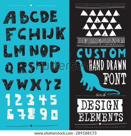 hand drawn hipster typeface and set of design elements - stock vector