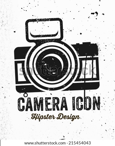 Hand Drawn Hipster Vintage Photo Camera. Concrete Wall Texture. - stock vector