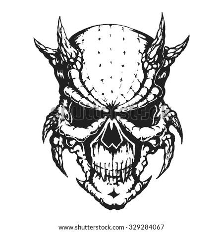 Hand drawn horned skull. Vector illustration - stock vector