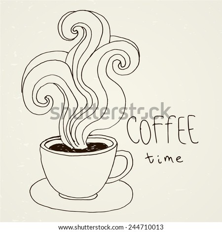 Hand-drawn hot coffee cup. Vector sketch. Invitation, greeting card, menu. Good morning! - stock vector