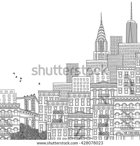 Hand drawn houses of New York City, adult coloring book page, hand drawn ink illustration of New York - stock vector