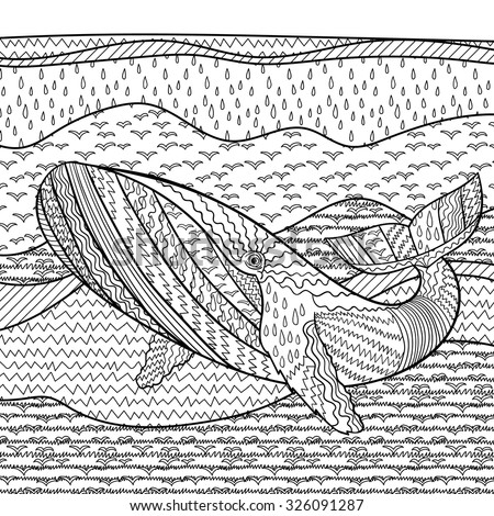Hand drawn humpback whale in the waves for anti stress Coloring Page with high details, isolated on pattern background, illustration in zentangle style. Vector monochrome sketch. Marine collection. - stock vector
